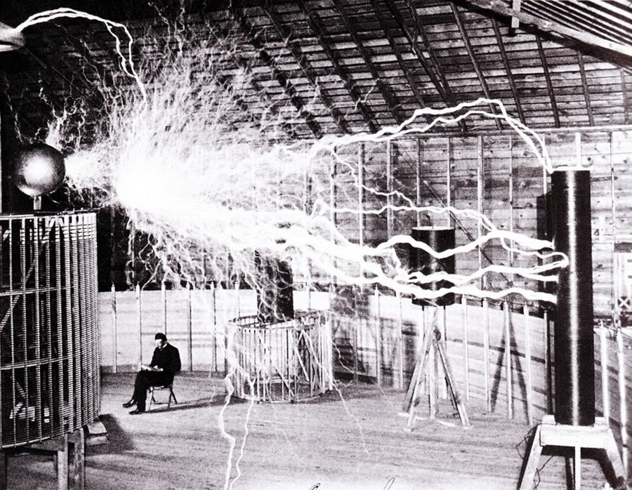 Nikola Tesla in his Colorado lab, 1899