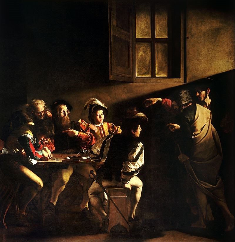 The Calling of Saint Matthew by Caravaggio located at San Luigi dei Francesi in Rome (photo: Wikipedia)