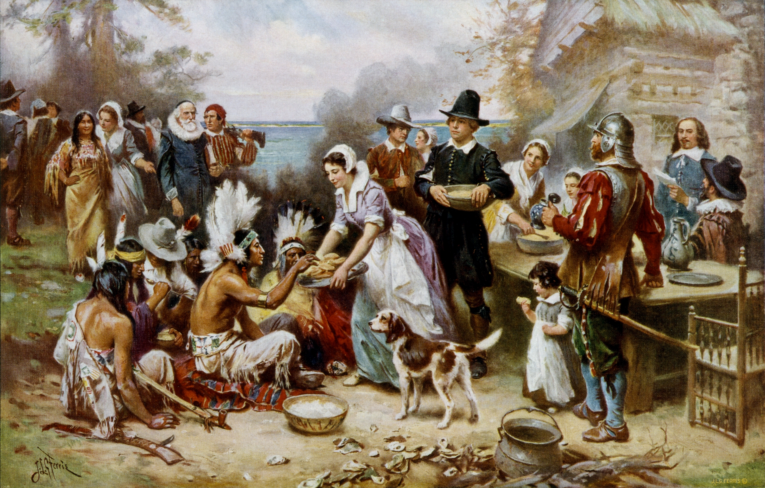 Jean Leon Gerome Ferris's The First Thanksgiving 1621.
